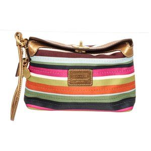 Coach Multicolor Legacy Stripe Satin Wristlet